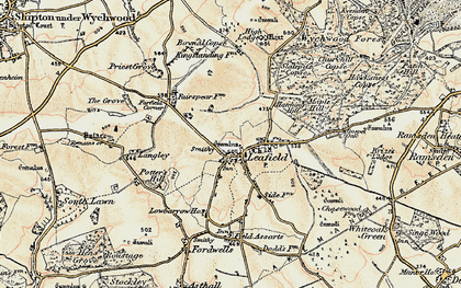 Old map of Leafield in 1898-1899