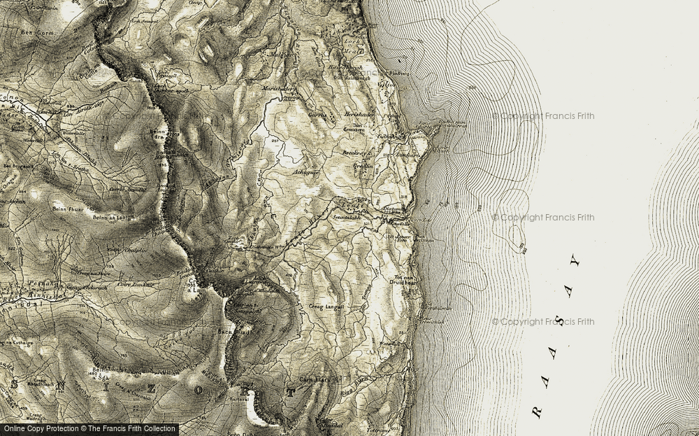 Old Map of Historic Map covering Lealt River in 1908-1909