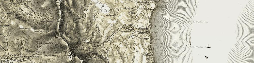 Old map of Tobhta nan Druidhean in 1908-1909