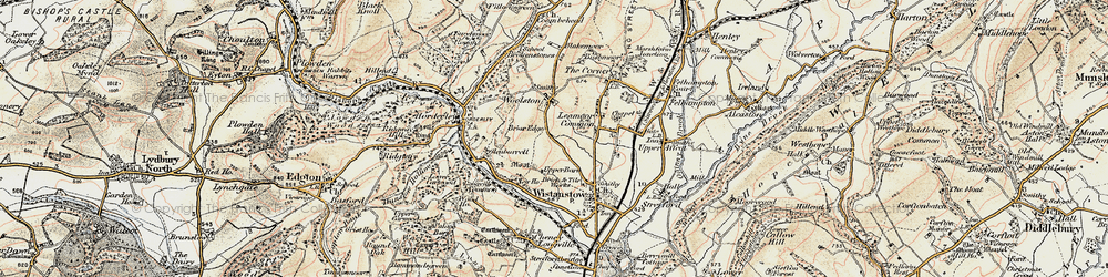 Old map of Leamoor Common in 1902-1903