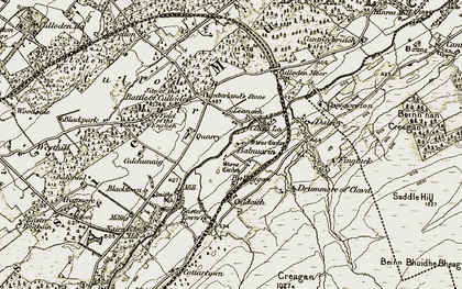 Old map of Balnuarin in 1908-1912