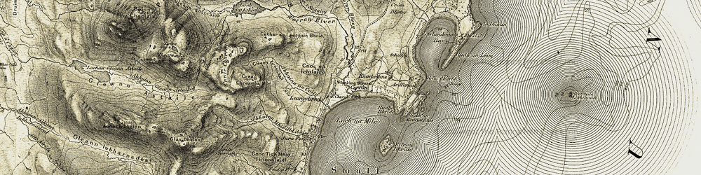 Old map of Abhainn na Coite in 1905-1907