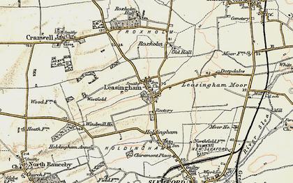 Old map of Leasingham Moor in 1902-1903