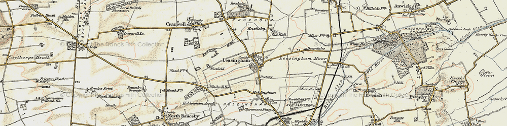 Old map of Leasingham in 1902-1903