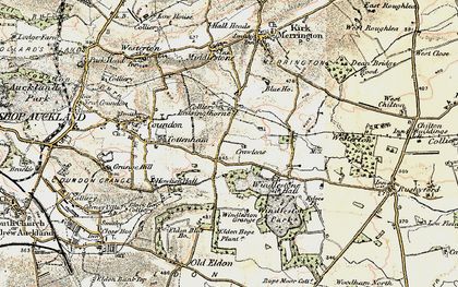 Old map of Leasingthorne in 1903-1904
