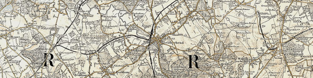 Old map of Leatherhead in 1897-1909