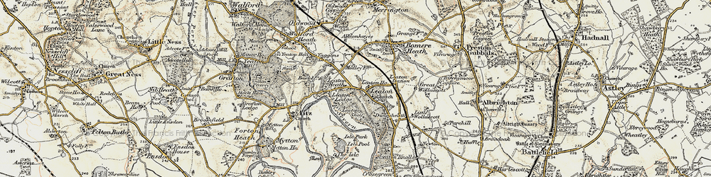 Old map of Leaton in 1902