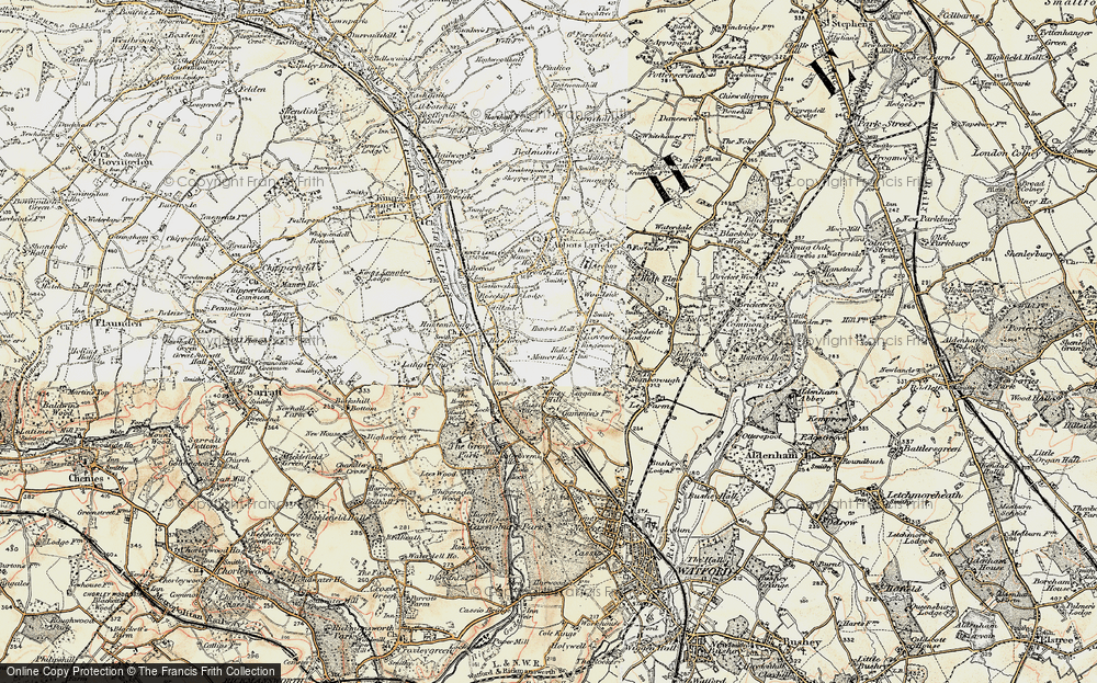 Old Map of Leavesden Green, 1897-1898 in 1897-1898