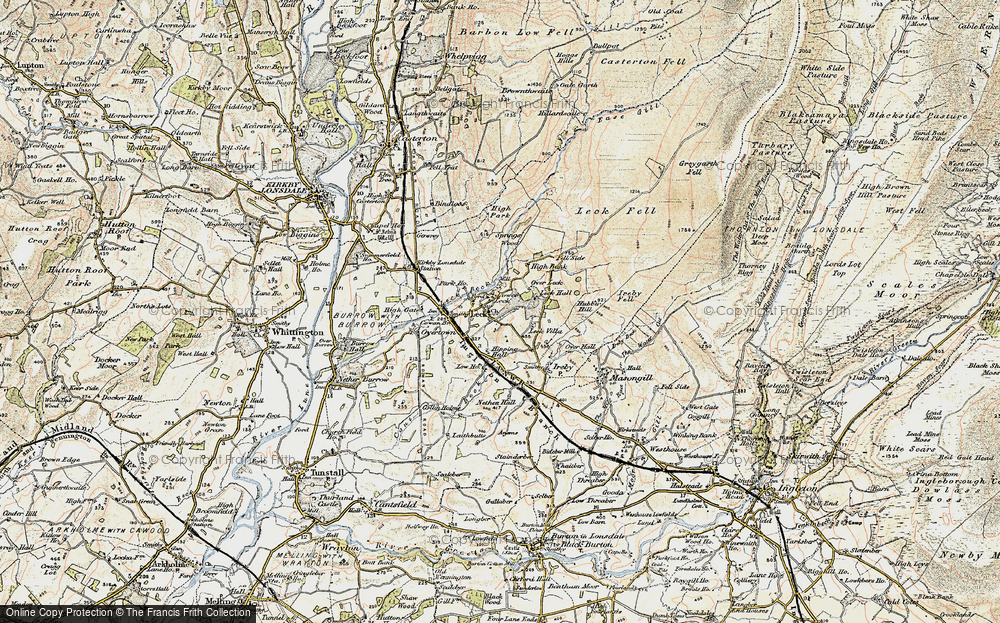 Old Map of Historic Map covering Leck Fell in 1903-1904