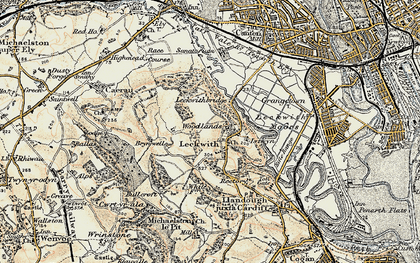 Old map of Leckwith Woods in 1899-1900