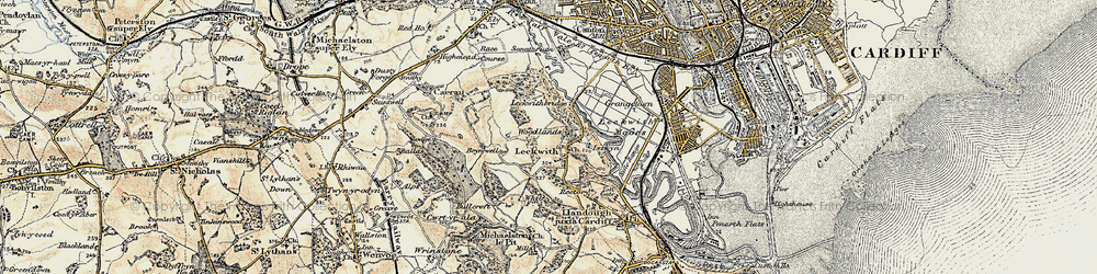 Old map of Woodlands in 1899-1900