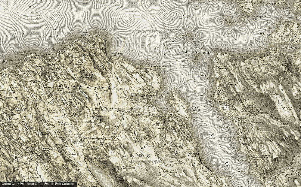 Old Map of Historic Map covering Allt nan Torc in 1906-1908