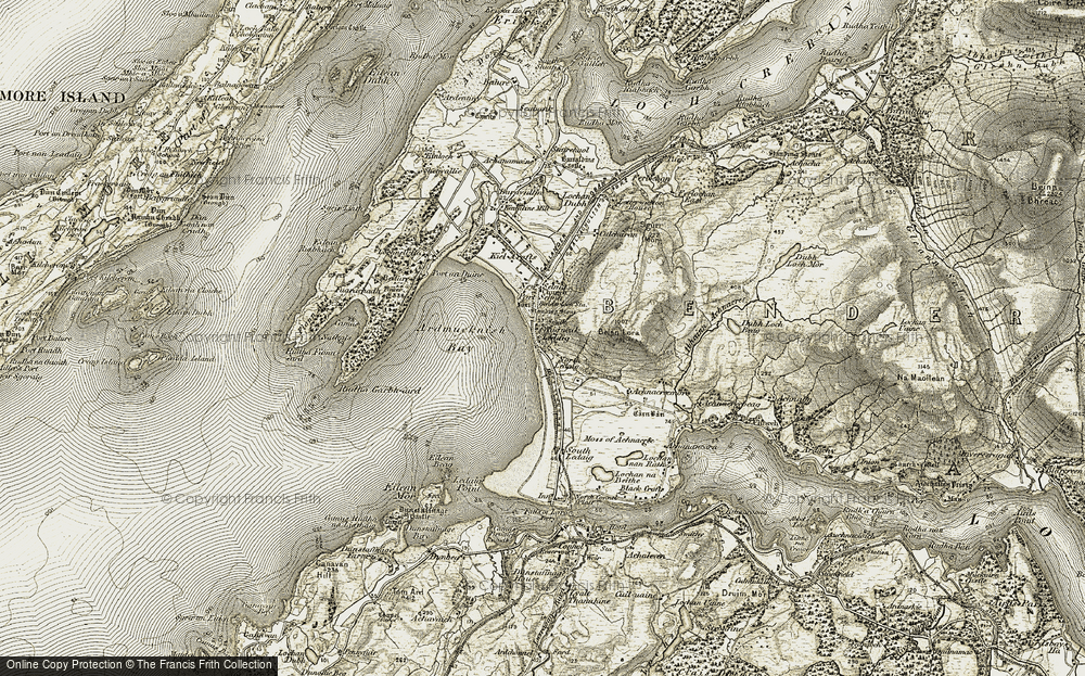 Old Map of Historic Map covering Ledaig Point in 1906-1908