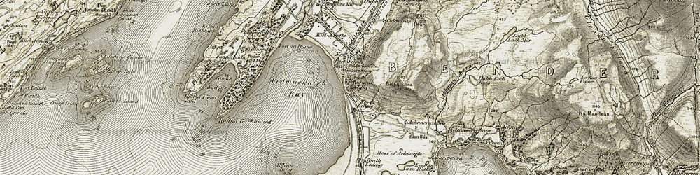 Old map of Ledaig Point in 1906-1908