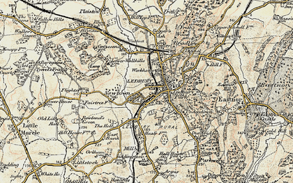 Old map of Ledbury in 1899-1901