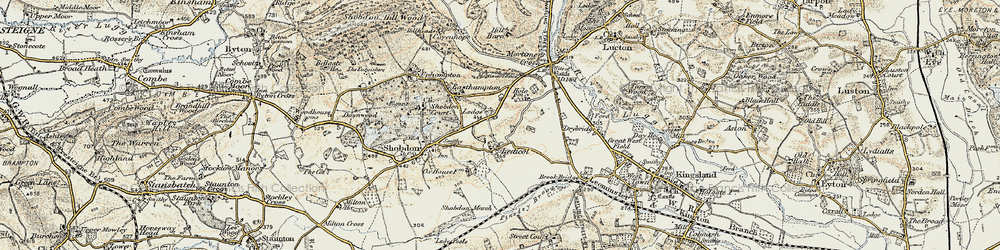 Old map of Ledicot in 1900-1903