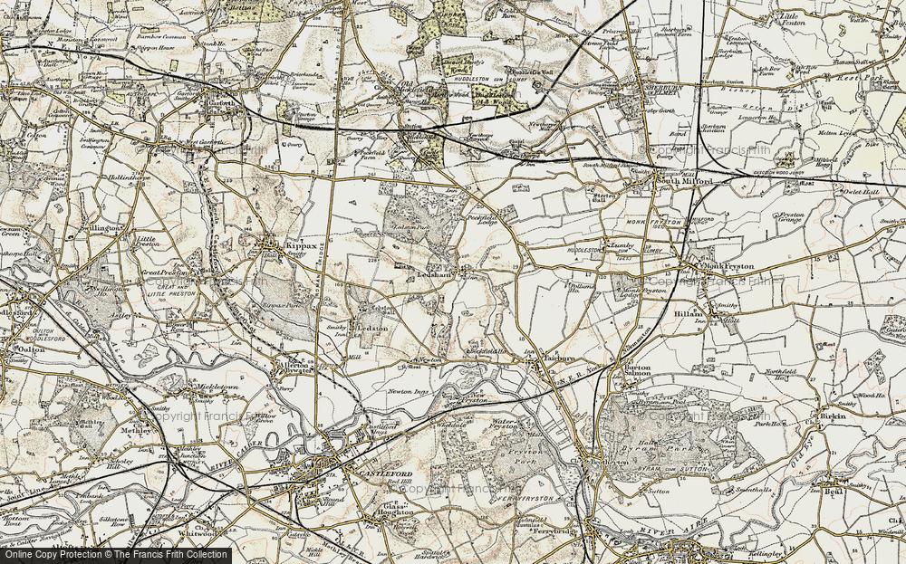Old Map of Historic Map covering Ledston Park in 1903