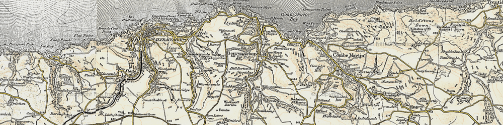 Old map of Woolscott Barton in 1900