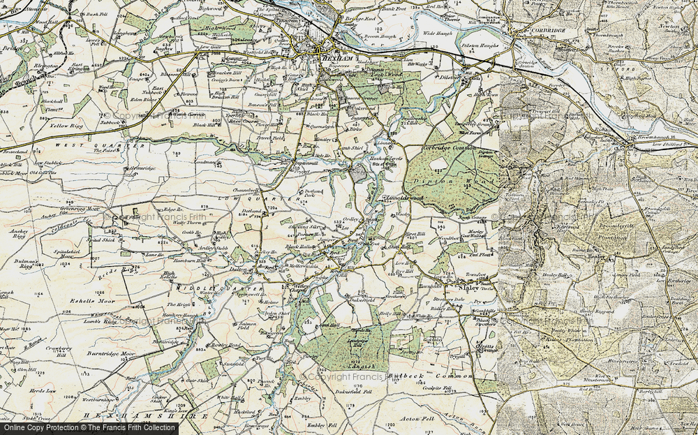 Old Map of Historic Map covering Linnel Hill in 1901-1904