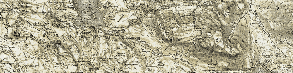 Old map of Airigh a' Bhreac Laoigh in 1906-1907