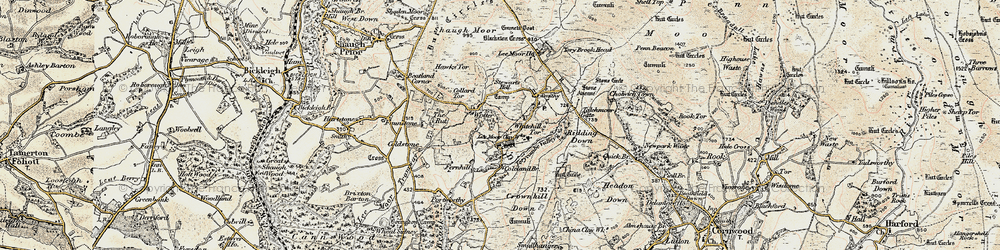 Old map of Whitehill Tor in 1899-1900