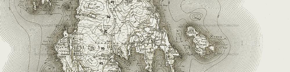 Old map of Wick of Sandsayre in 1911-1912