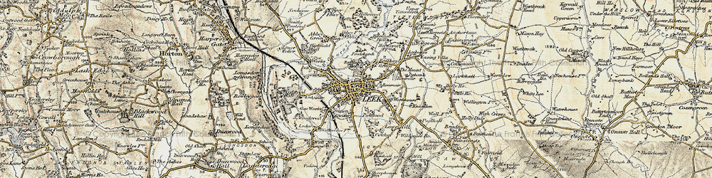 Old map of Leek in 1902-1903