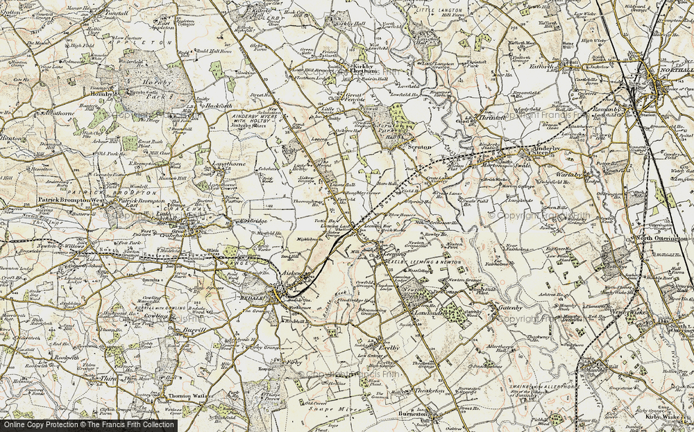 Old Map of Historic Map covering Leases Grange in 1904