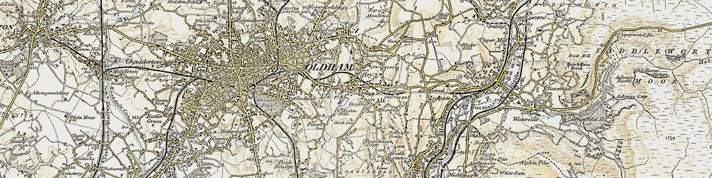 Old map of Lees in 1903