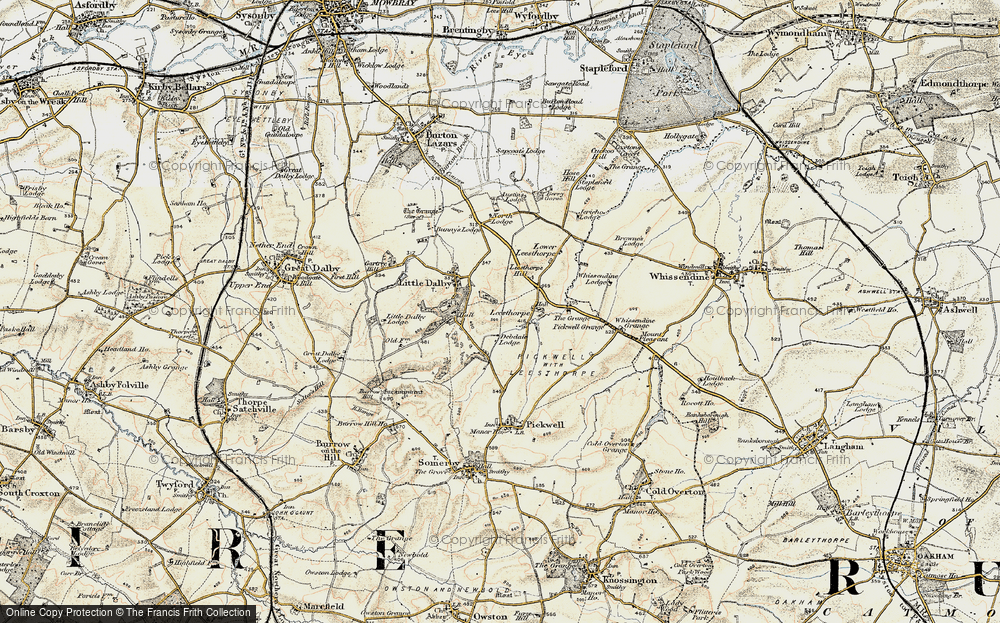 Old Map of Historic Map covering Leesthorpe Hill in 1901-1903