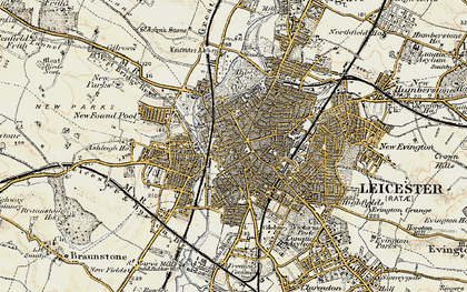 Old map of Leicester in 1901-1903