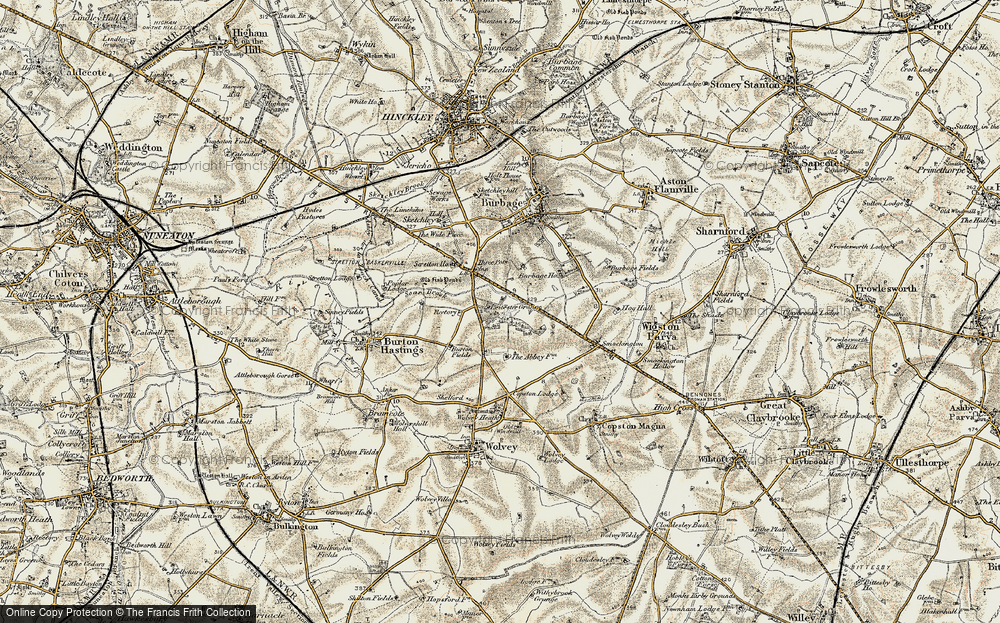 Old Map of Leicester Grange, 1901-1902 in 1901-1902