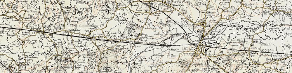 Old map of Leigh in 1897-1898
