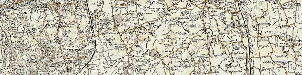 Old map of Leigh in 1898-1909