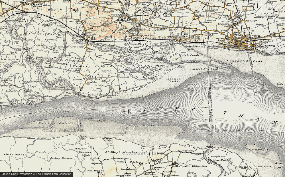 Old Map of Historic Map covering Leigh Middle in 1897-1898