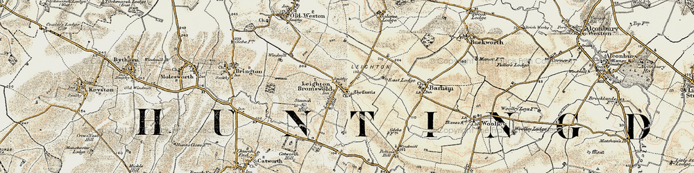 Old map of Leighton Bromswold in 1901
