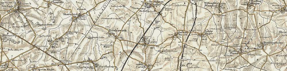 Old map of Leire in 1901-1902