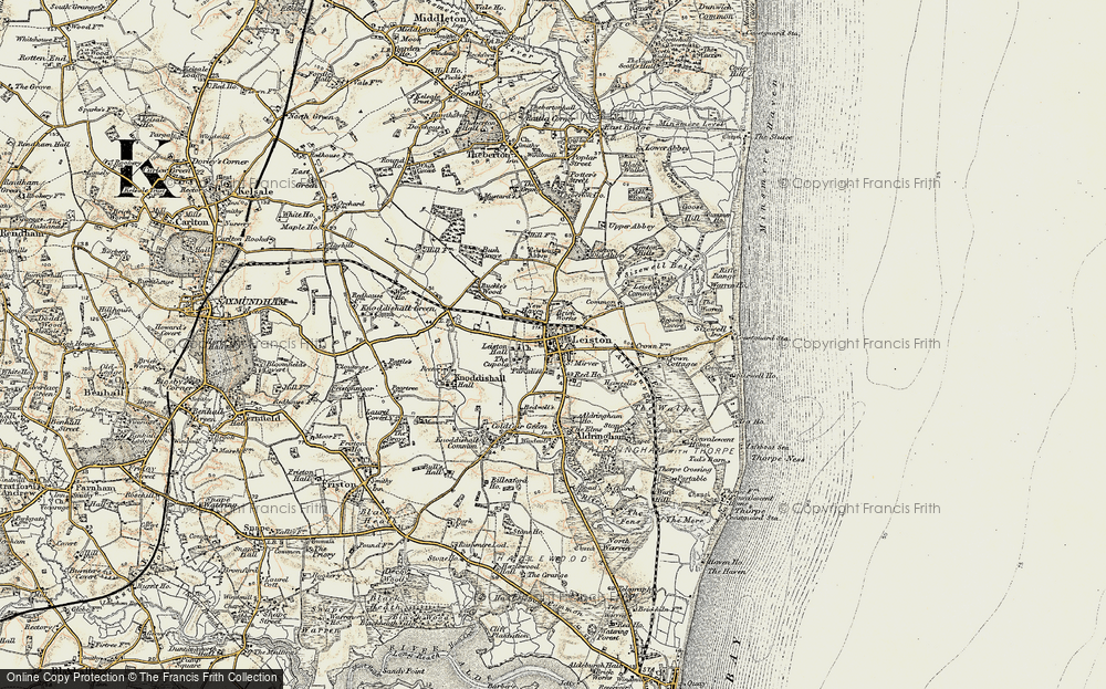Old Map of Historic Map covering Leiston Common in 1898-1901