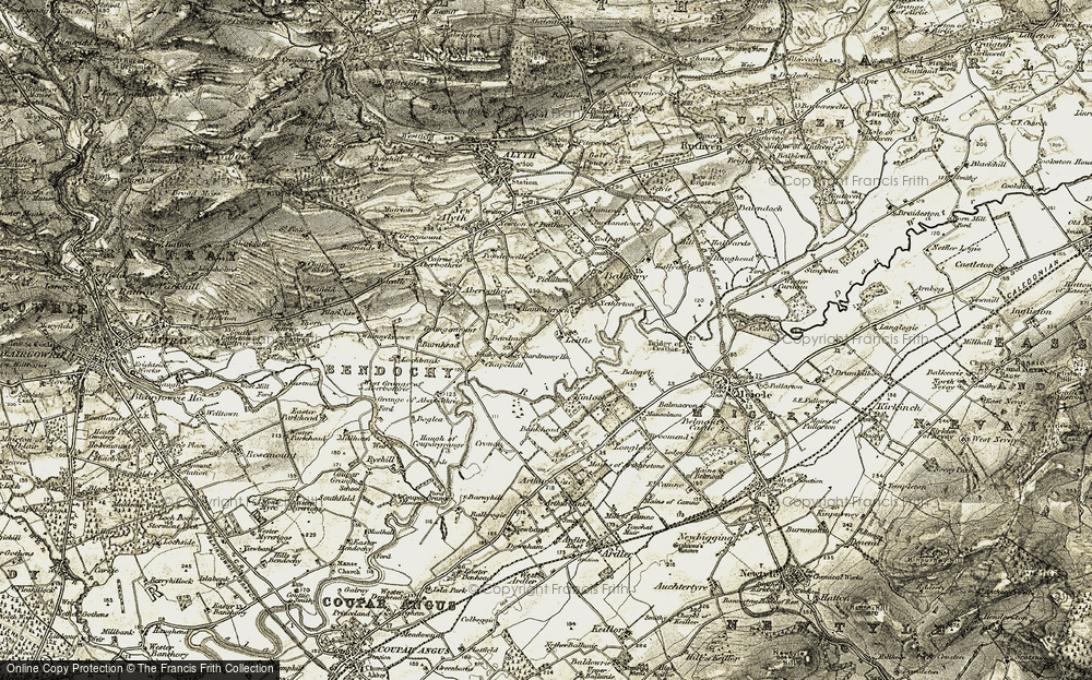 Old Map of Historic Map covering Bankhead of Kinloch in 1907-1908