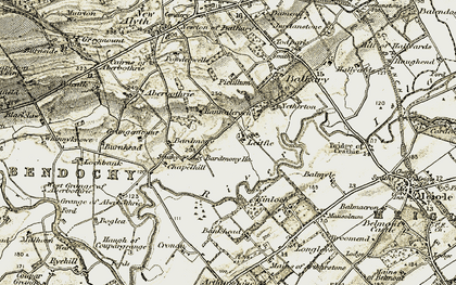 Old map of Bardmony in 1907-1908