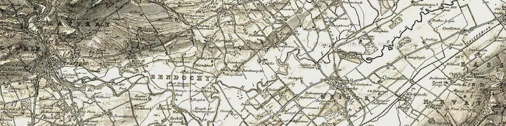 Old map of Leroch in 1907-1908