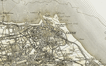 Old map of Leith in 1903-1906