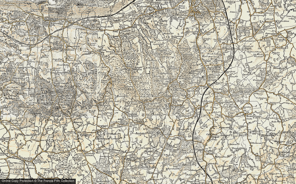 Old Map of Historic Map covering Leith Hill Place in 1898-1909