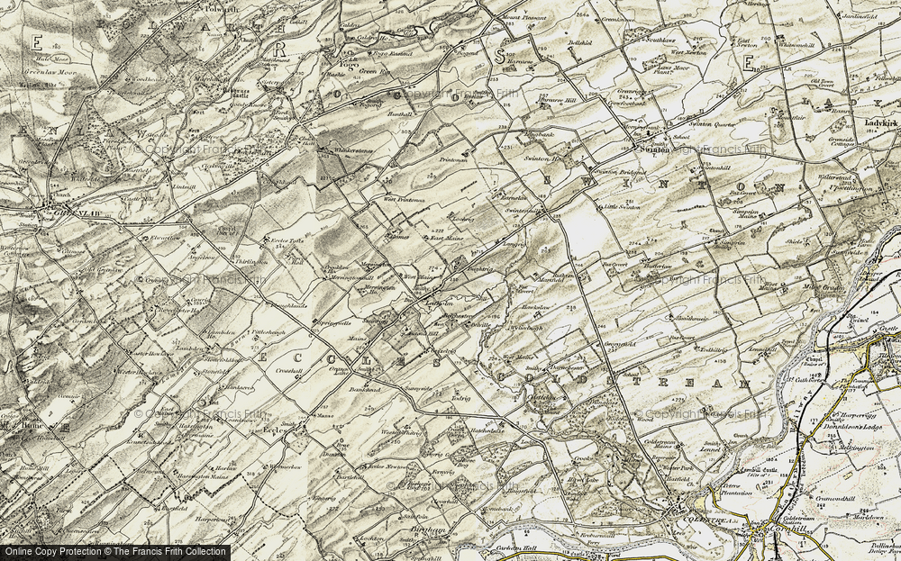 Old Map of Historic Map covering Langrig in 1901-1904
