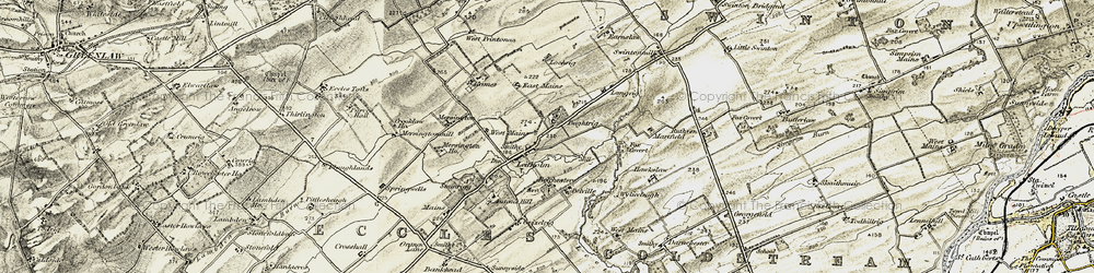 Old map of Leet Water in 1901-1904