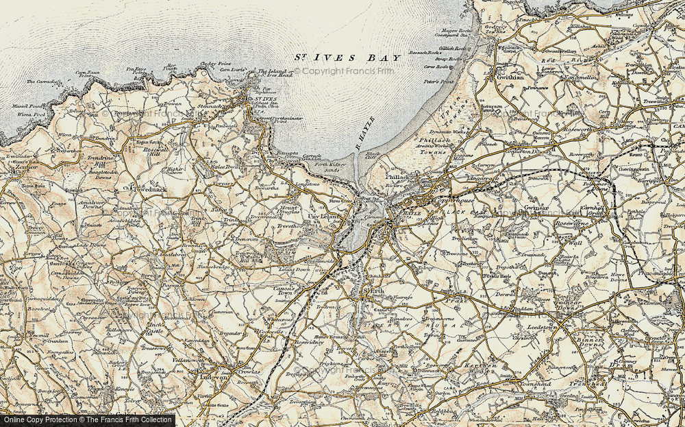 Old Map of Lelant, 1900 in 1900