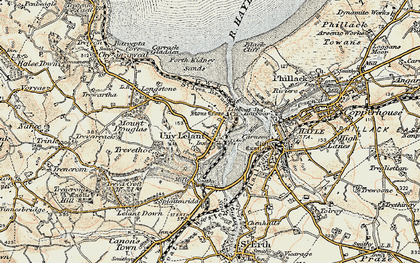 Old map of Lelant Saltings Sta in 1900