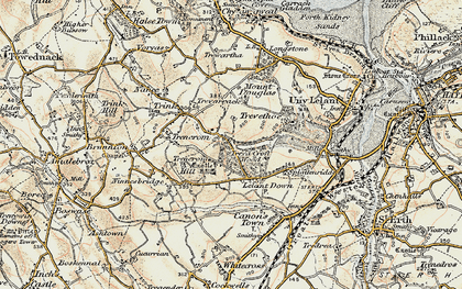 Old map of Lelant Downs in 1900