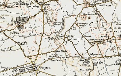 Old map of Lelley in 1903-1908