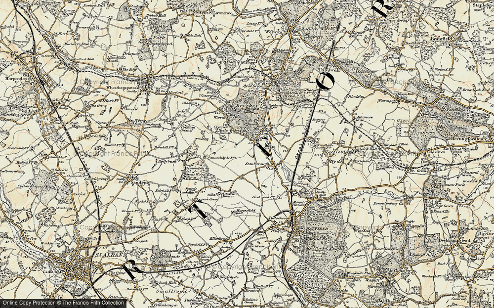 Old Map of Lemsford, 1898 in 1898